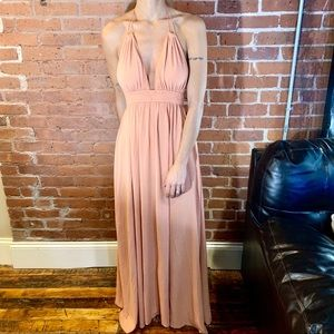 Blush halter no-back dress
